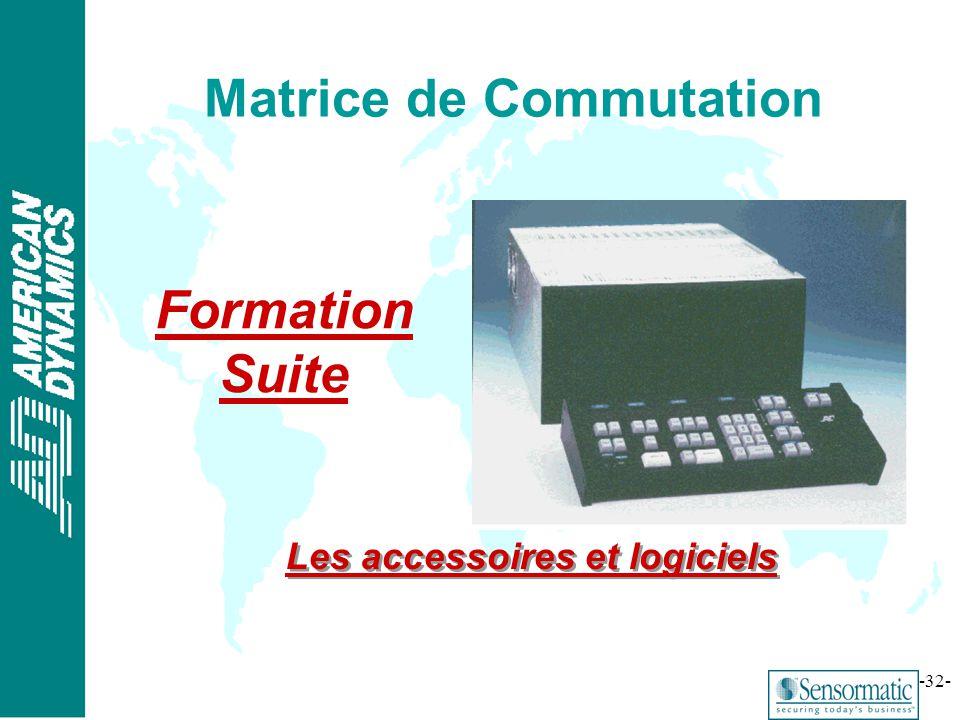 ® -32- Matrice de Commutation Formation Suite Les accessoires et logiciels