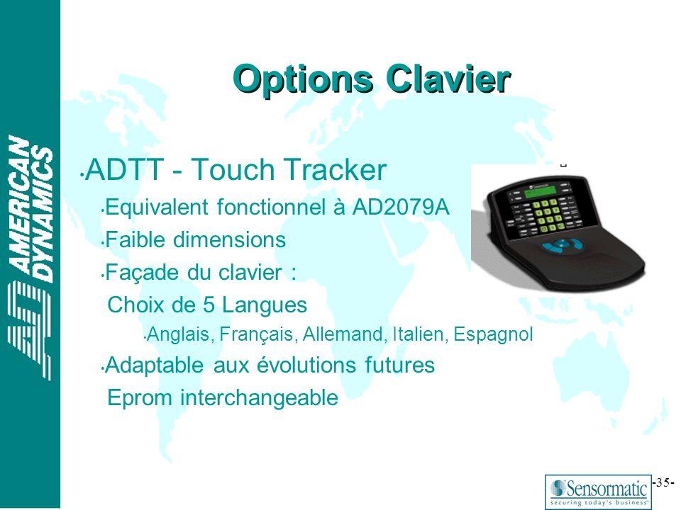® -35- ADTT - Touch Tracker Equivalent fonctionnel à AD2079A Faible dimensions Façade du clavier : Choix de 5 Langues Anglais, Français, Allemand, Ita
