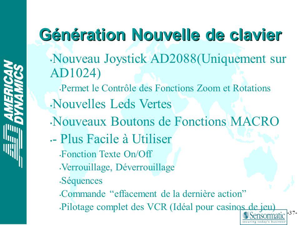 ® -37- Nouveau Joystick AD2088(Uniquement sur AD1024) Permet le Contrôle des Fonctions Zoom et Rotations Nouvelles Leds Vertes Nouveaux Boutons de Fon