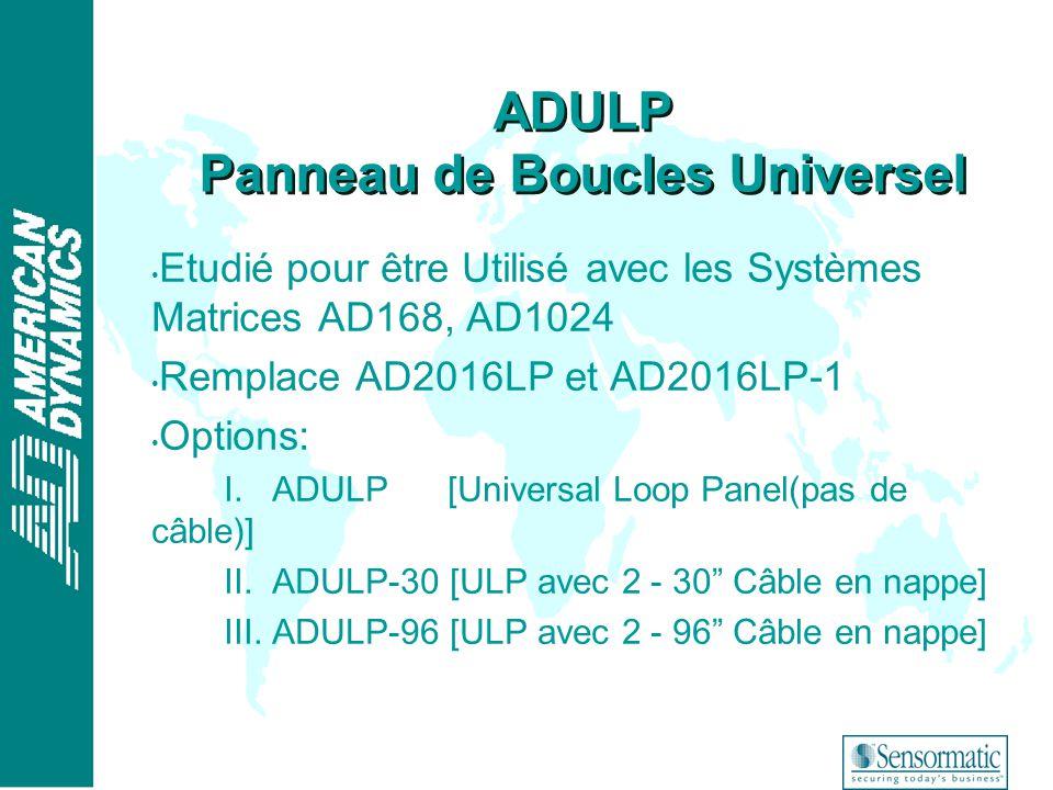 ® Etudié pour être Utilisé avec les Systèmes Matrices AD168, AD1024 Remplace AD2016LP et AD2016LP-1 Options: I. ADULP [Universal Loop Panel(pas de câb