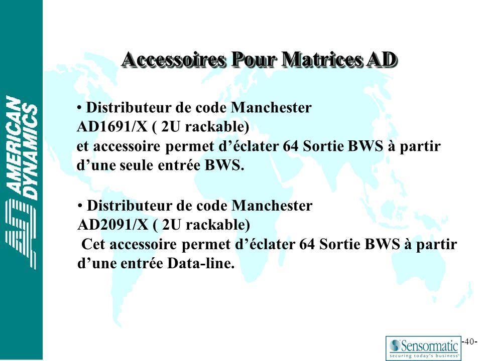 ® -40- Accessoires Pour Matrices AD Distributeur de code Manchester AD1691/X ( 2U rackable) et accessoire permet déclater 64 Sortie BWS à partir dune