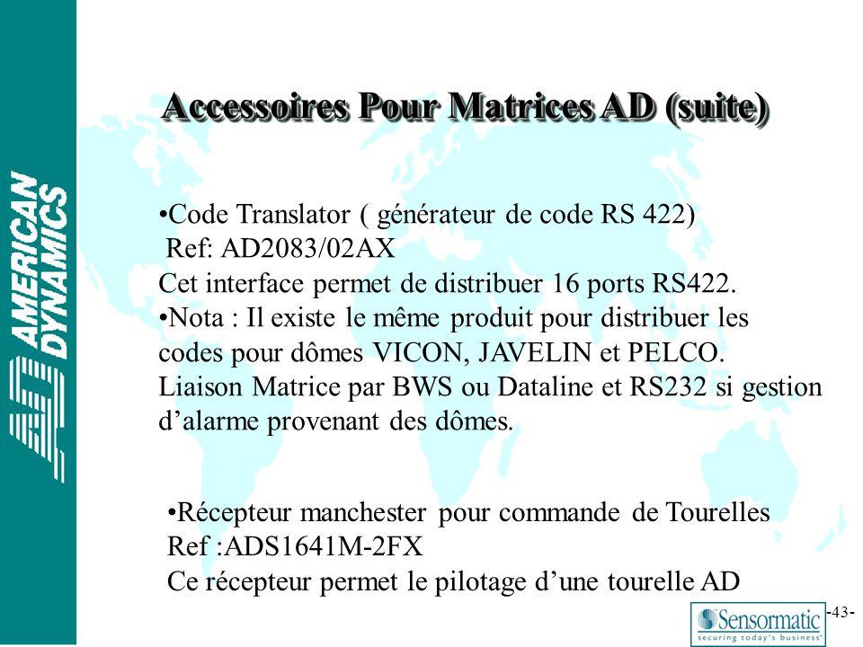 ® -43- Accessoires Pour Matrices AD (suite) Code Translator ( générateur de code RS 422) Ref: AD2083/02AX Cet interface permet de distribuer 16 ports