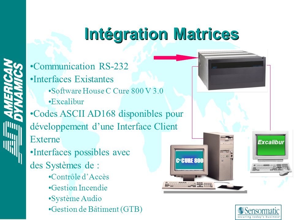 ® Intégration Matrices C CURE 800 Excalibur Communication RS-232 Interfaces Existantes Software House C Cure 800 V 3.0 Excalibur Codes ASCII AD168 dis