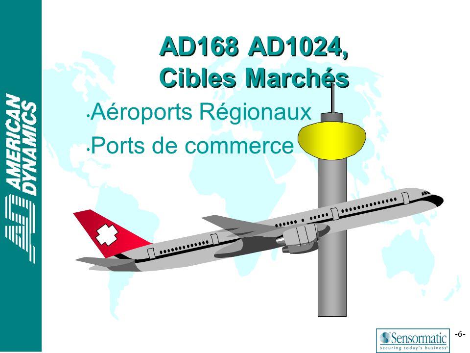 ® -6- AD168 AD1024, Cibles Marchés Aéroports Régionaux Ports de commerce