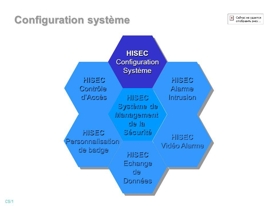 Configuration système CS/1 HISECContrôledAccèsHISECContrôledAccès HISECPersonnalisation de badge HISECPersonnalisation HISECConfigurationSystèmeHISECConfigurationSystème HISECEchangedeDonnéesHISECEchangedeDonnées HISECAlarmeIntrusionHISECAlarmeIntrusion HISEC Vidéo Alarme HISEC HISEC Système de Management de la Sécurité