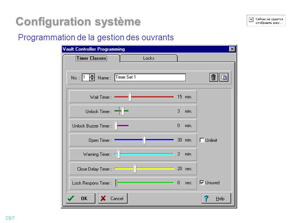 Programmation de la gestion des ouvrants CS/7 Configuration système