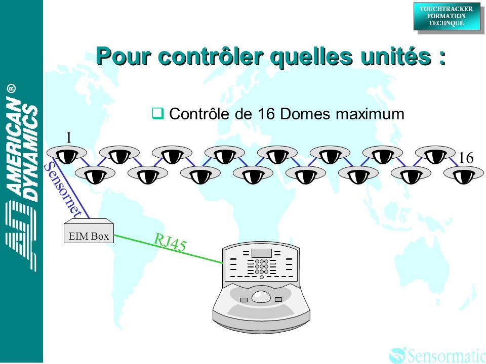 ® ® TOUCHTRACKER FORMATION TECHNQUE TOUCHTRACKER FORMATION TECHNQUE Contrôle de 16 Domes maximum EIM Box Sensornet RJ45 1 16 Pour contrôler quelles unités :