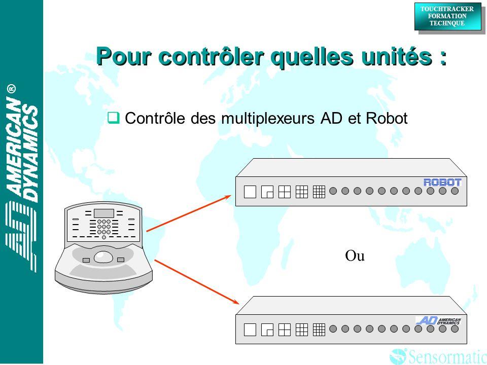 ® ® TOUCHTRACKER FORMATION TECHNQUE TOUCHTRACKER FORMATION TECHNQUE Contrôle des multiplexeurs AD et Robot Ou Pour contrôler quelles unités :