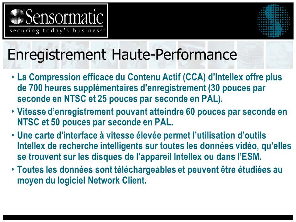 Enregistrement Haute-Performance La Compression efficace du Contenu Actif (CCA) dIntellex offre plus de 700 heures supplémentaires denregistrement (30 pouces par seconde en NTSC et 25 pouces par seconde en PAL).