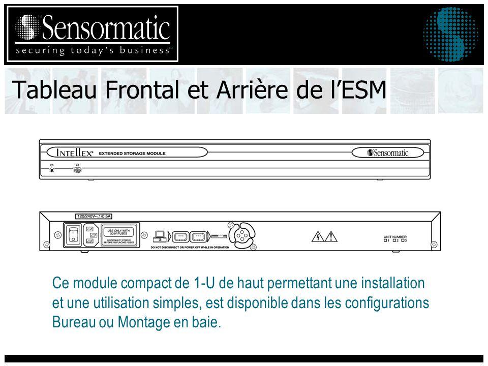 Tableau Frontal et Arrière de lESM Ce module compact de 1-U de haut permettant une installation et une utilisation simples, est disponible dans les configurations Bureau ou Montage en baie.