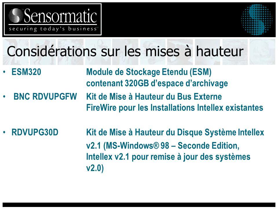 Considérations sur les mises à hauteur ESM320Module de Stockage Etendu (ESM) contenant 320GB despace darchivage BNC RDVUPGFW Kit de Mise à Hauteur du Bus Externe FireWire pour les Installations Intellex existantes RDVUPG30DKit de Mise à Hauteur du Disque Système Intellex v2.1 (MS-Windows® 98 – Seconde Edition, Intellex v2.1 pour remise à jour des systèmes v2.0)