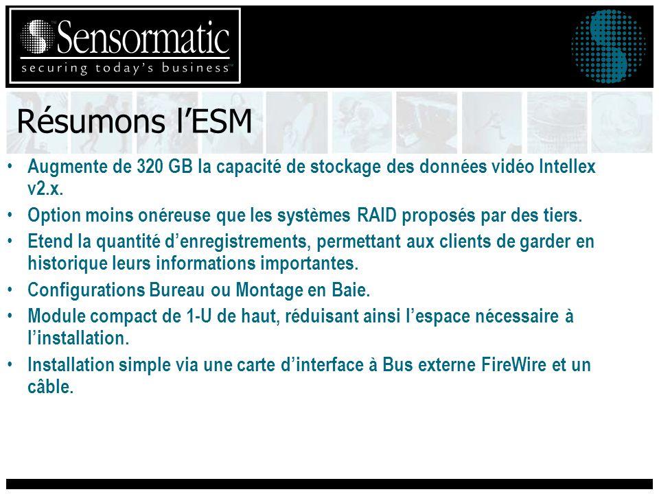 Résumons lESM Augmente de 320 GB la capacité de stockage des données vidéo Intellex v2.x.