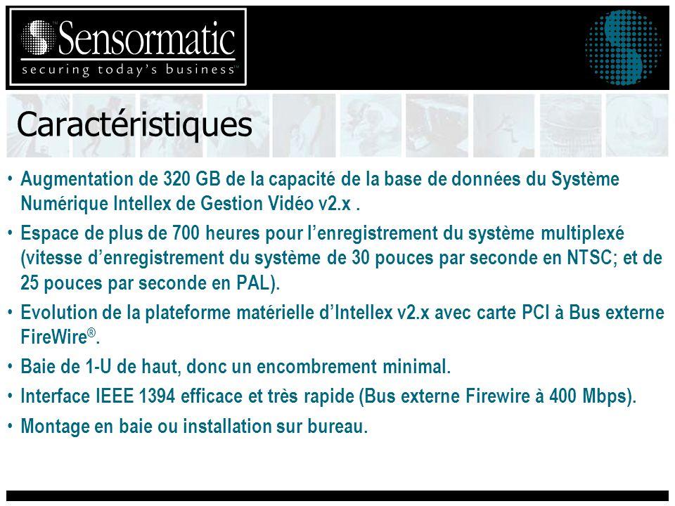 Caractéristiques Augmentation de 320 GB de la capacité de la base de données du Système Numérique Intellex de Gestion Vidéo v2.x.
