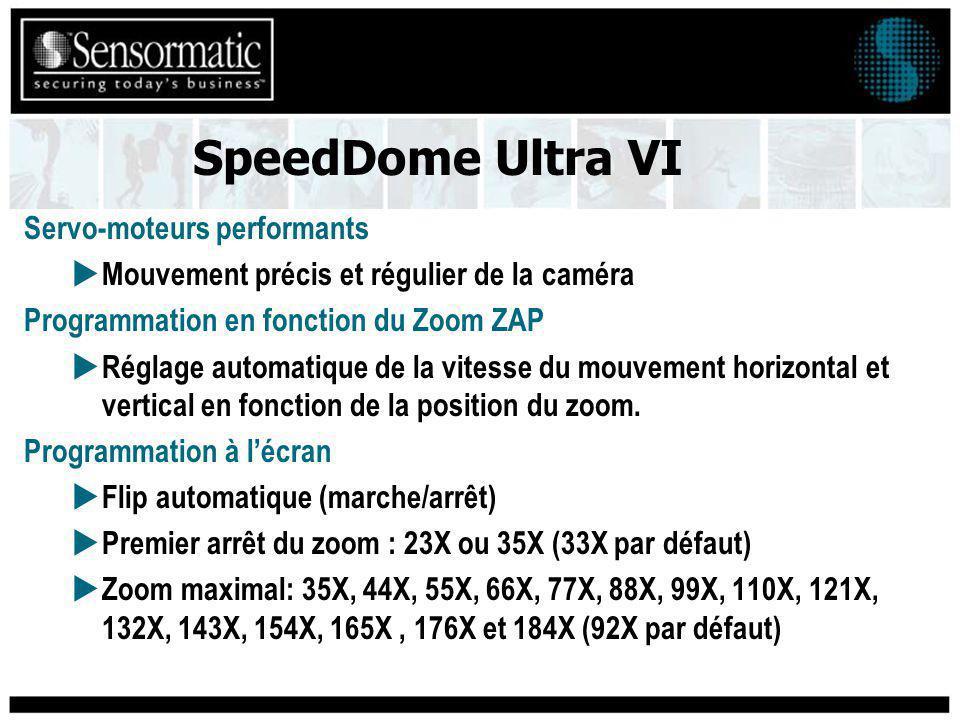 Servo-moteurs performants Mouvement précis et régulier de la caméra Programmation en fonction du Zoom ZAP Réglage automatique de la vitesse du mouvement horizontal et vertical en fonction de la position du zoom.