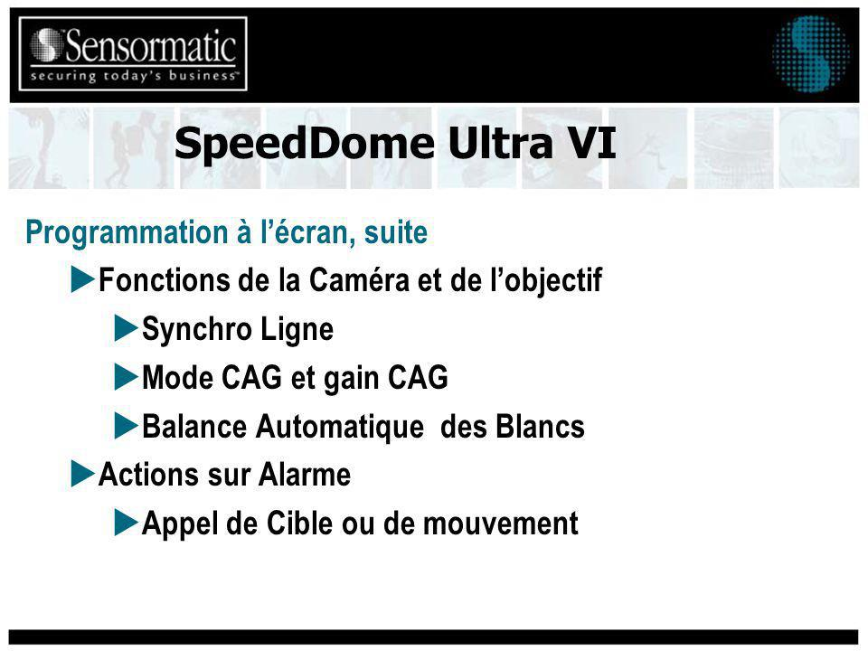 Programmation à lécran, suite Fonctions de la Caméra et de lobjectif Synchro Ligne Mode CAG et gain CAG Balance Automatique des Blancs Actions sur Alarme Appel de Cible ou de mouvement SpeedDome Ultra VI