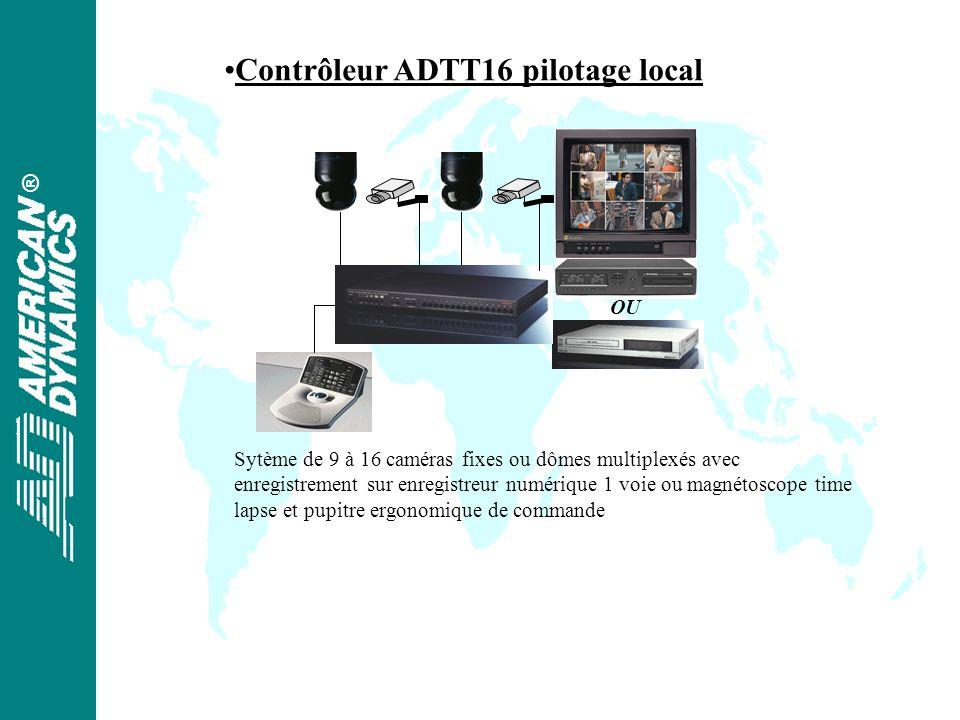 ® OU Sytème de 9 à 16 caméras fixes ou dômes multiplexés avec enregistrement sur enregistreur numérique 1 voie ou magnétoscope time lapse et pupitre ergonomique de commande Contrôleur ADTT16 pilotage local