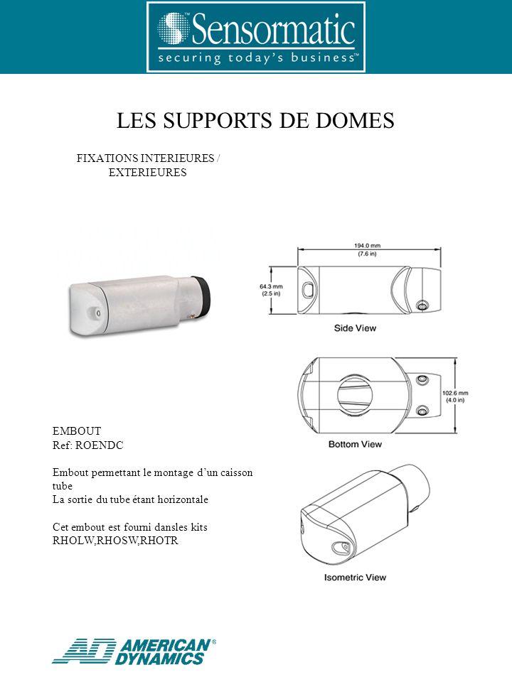 EMBOUT Ref: ROENDC Embout permettant le montage dun caisson sur tube La sortie du tube étant horizontale Cet embout est fourni dansles kits RHOLW,RHOSW,RHOTR FIXATIONS INTERIEURES / EXTERIEURES