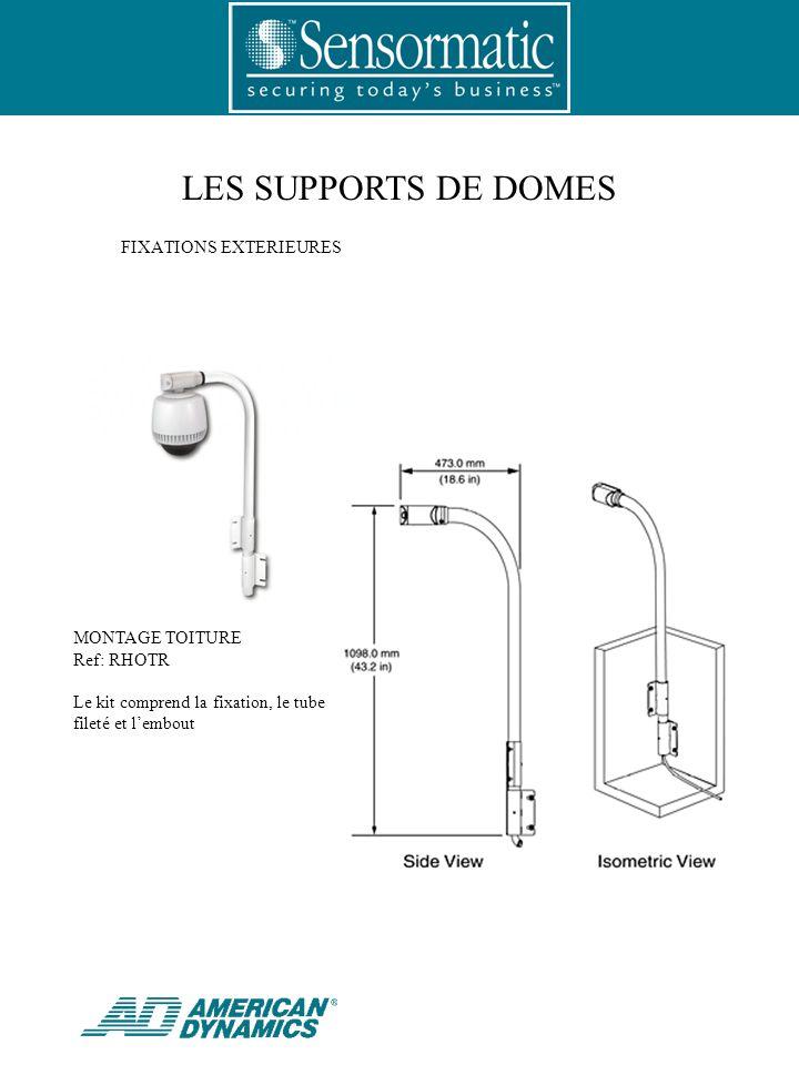 LES SUPPORTS DE DOMES MONTAGE TOITURE Ref: RHOTR Le kit comprend la fixation, le tube fileté et lembout FIXATIONS EXTERIEURES