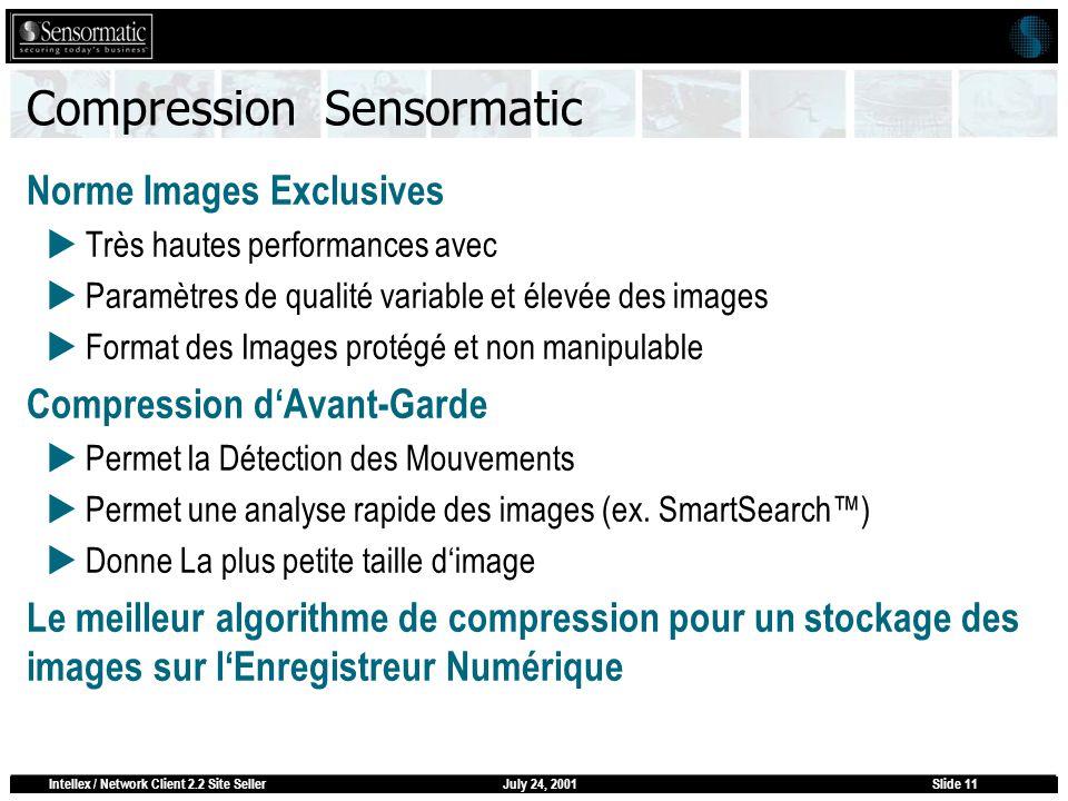 July 24, 2001Intellex / Network Client 2.2 Site SellerSlide 11 Compression Sensormatic Norme Images Exclusives Très hautes performances avec Paramètre