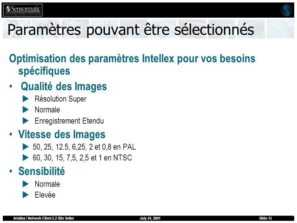 July 24, 2001Intellex / Network Client 2.2 Site SellerSlide 15 Paramètres pouvant être sélectionnés Optimisation des paramètres Intellex pour vos beso