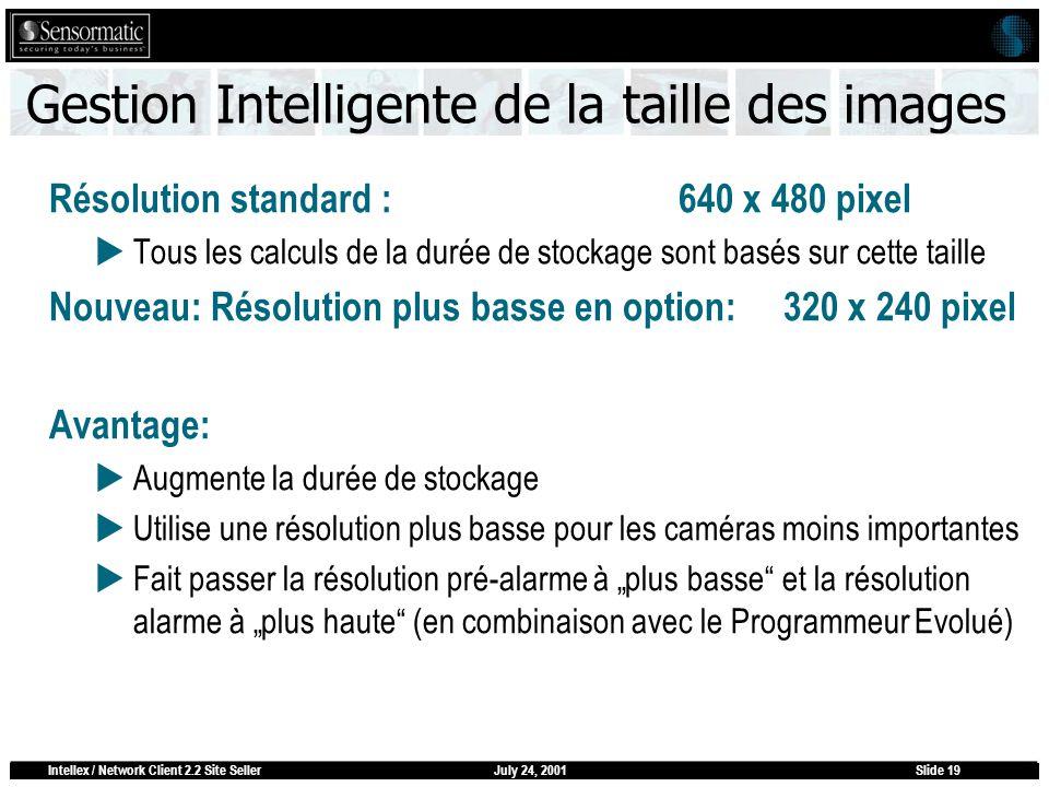 July 24, 2001Intellex / Network Client 2.2 Site SellerSlide 19 Gestion Intelligente de la taille des images Résolution standard :640 x 480 pixel Tous