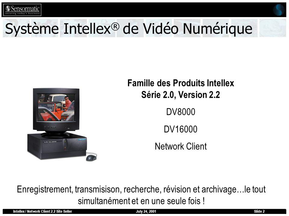 July 24, 2001Intellex / Network Client 2.2 Site SellerSlide 2 Système Intellex ® de Vidéo Numérique Famille des Produits Intellex Série 2.0, Version 2