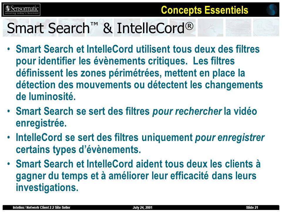 July 24, 2001Intellex / Network Client 2.2 Site SellerSlide 21 Smart Search & IntelleCord ® Smart Search et IntelleCord utilisent tous deux des filtre