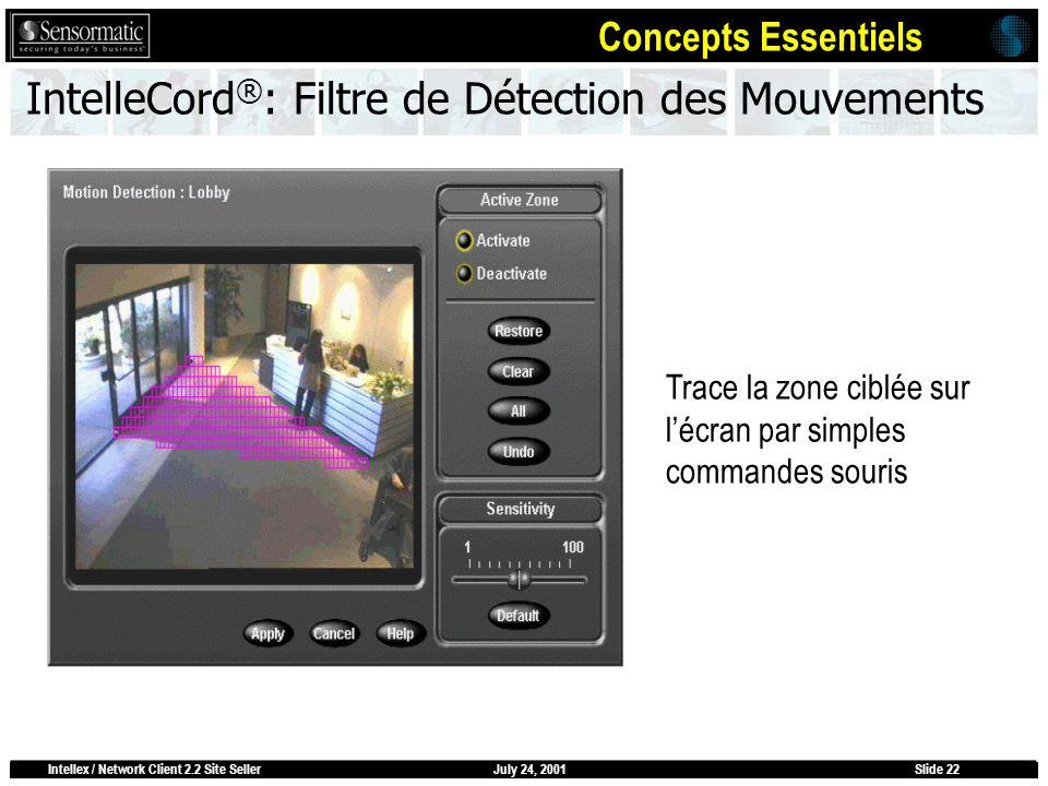 July 24, 2001Intellex / Network Client 2.2 Site SellerSlide 22 IntelleCord ® : Filtre de Détection des Mouvements Trace la zone ciblée sur lécran par