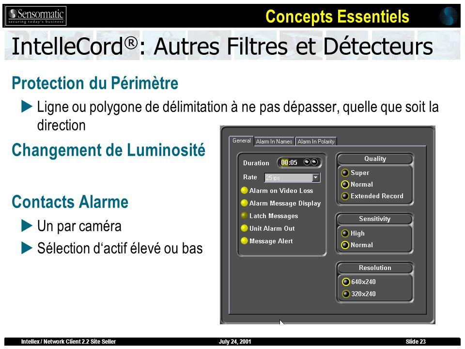 July 24, 2001Intellex / Network Client 2.2 Site SellerSlide 23 IntelleCord ® : Autres Filtres et Détecteurs Protection du Périmètre Ligne ou polygone