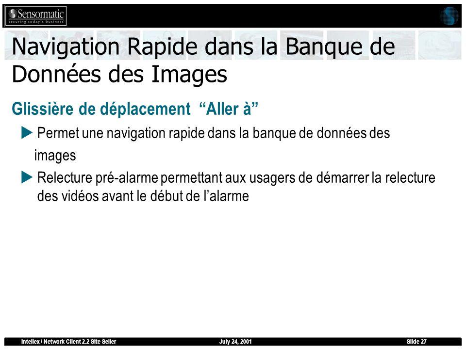 July 24, 2001Intellex / Network Client 2.2 Site SellerSlide 27 Navigation Rapide dans la Banque de Données des Images Glissière de déplacement Aller à