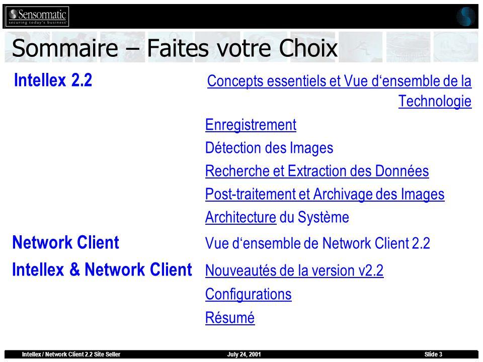 July 24, 2001Intellex / Network Client 2.2 Site SellerSlide 3 Sommaire – Faites votre Choix Intellex 2.2 Concepts essentiels et Vue densemble de la Te