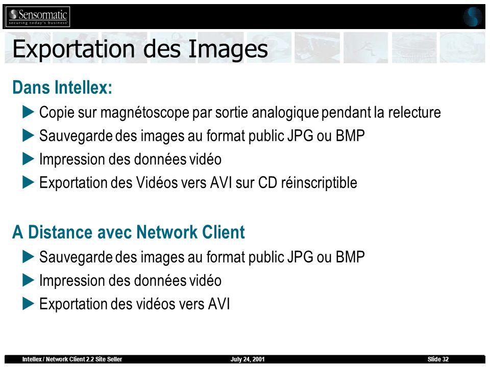 July 24, 2001Intellex / Network Client 2.2 Site SellerSlide 32 Exportation des Images Dans Intellex: Copie sur magnétoscope par sortie analogique pend