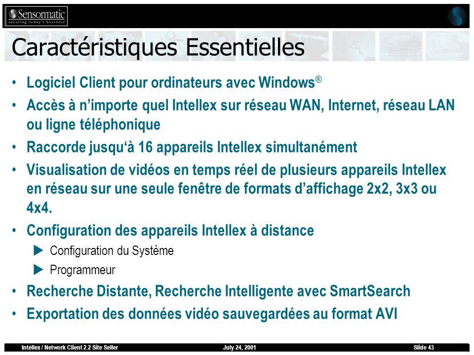 July 24, 2001Intellex / Network Client 2.2 Site SellerSlide 43 Caractéristiques Essentielles Logiciel Client pour ordinateurs avec Windows ® Accès à n