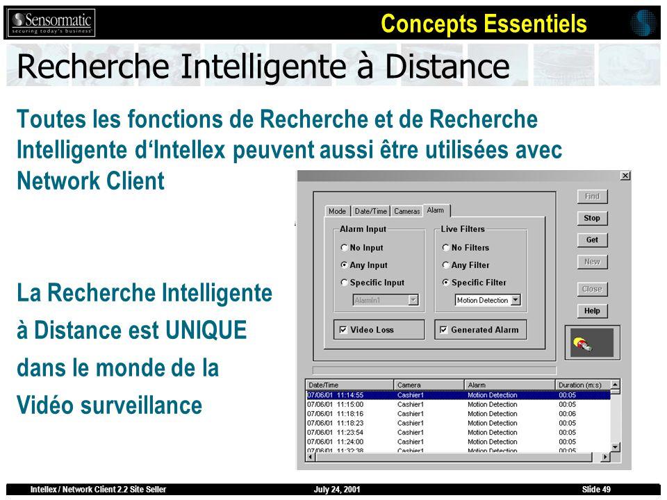 July 24, 2001Intellex / Network Client 2.2 Site SellerSlide 49 Recherche Intelligente à Distance Toutes les fonctions de Recherche et de Recherche Int