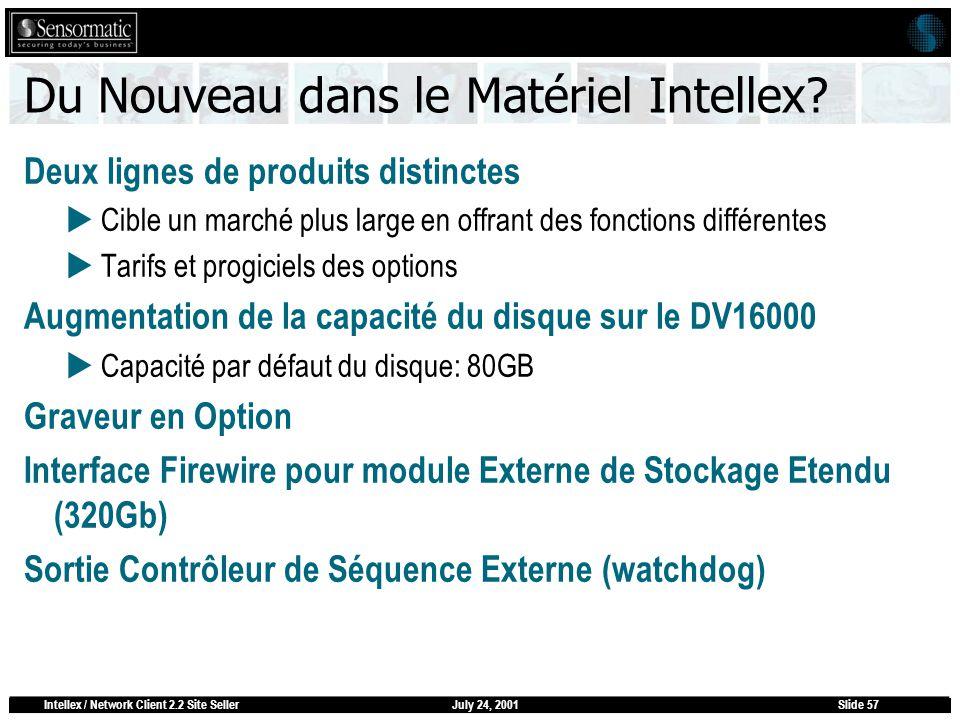 July 24, 2001Intellex / Network Client 2.2 Site SellerSlide 57 Du Nouveau dans le Matériel Intellex? Deux lignes de produits distinctes Cible un march