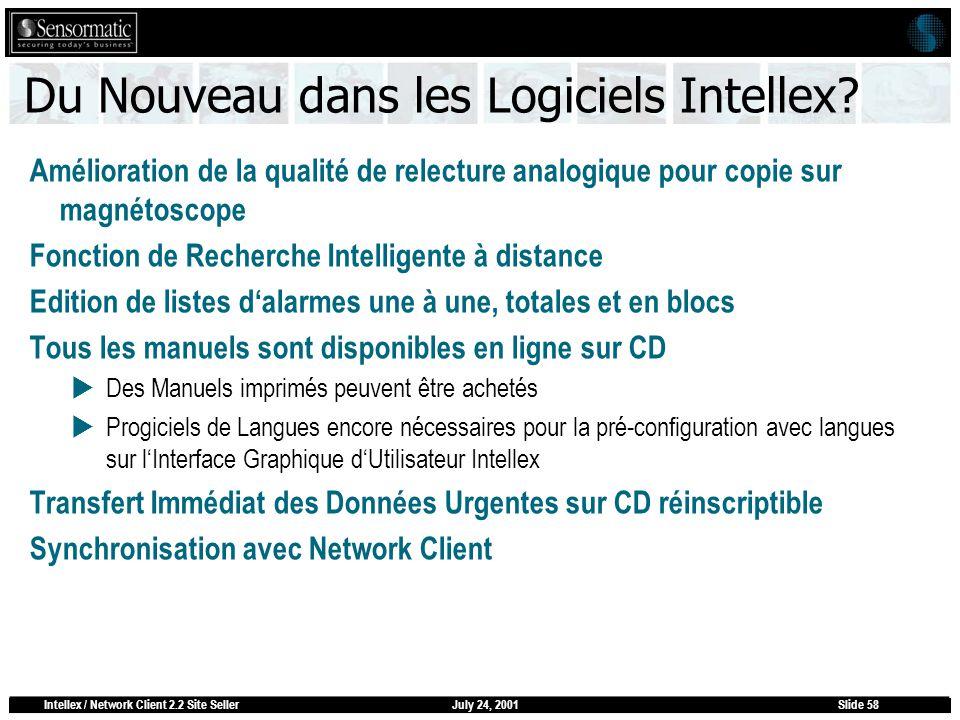 July 24, 2001Intellex / Network Client 2.2 Site SellerSlide 58 Du Nouveau dans les Logiciels Intellex? Amélioration de la qualité de relecture analogi