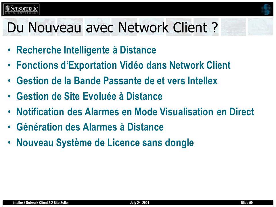 July 24, 2001Intellex / Network Client 2.2 Site SellerSlide 59 Du Nouveau avec Network Client ? Recherche Intelligente à Distance Fonctions dExportati