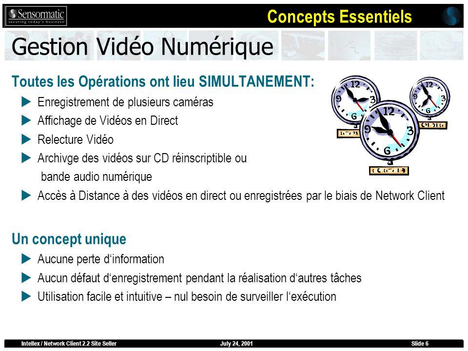 July 24, 2001Intellex / Network Client 2.2 Site SellerSlide 6 Gestion Vidéo Numérique Toutes les Opérations ont lieu SIMULTANEMENT: Enregistrement de