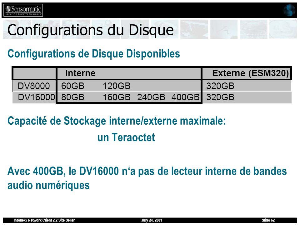 July 24, 2001Intellex / Network Client 2.2 Site SellerSlide 62 Configurations du Disque Configurations de Disque Disponibles Capacité de Stockage inte
