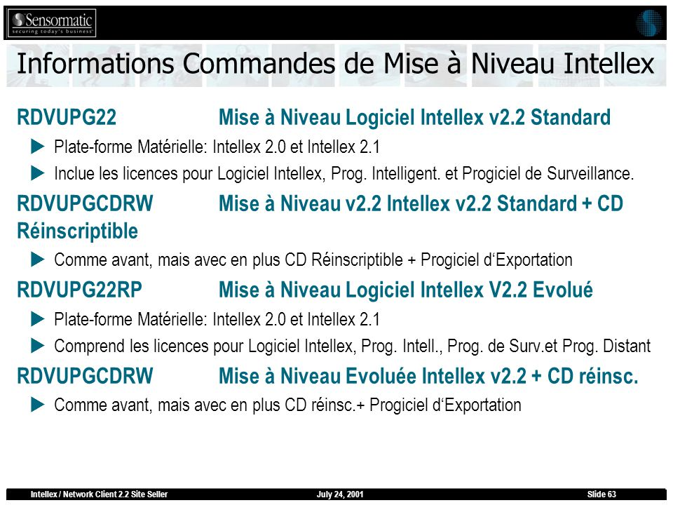 July 24, 2001Intellex / Network Client 2.2 Site SellerSlide 63 Informations Commandes de Mise à Niveau Intellex RDVUPG22 Mise à Niveau Logiciel Intellex v2.2 Standard Plate-forme Matérielle: Intellex 2.0 et Intellex 2.1 Inclue les licences pour Logiciel Intellex, Prog.