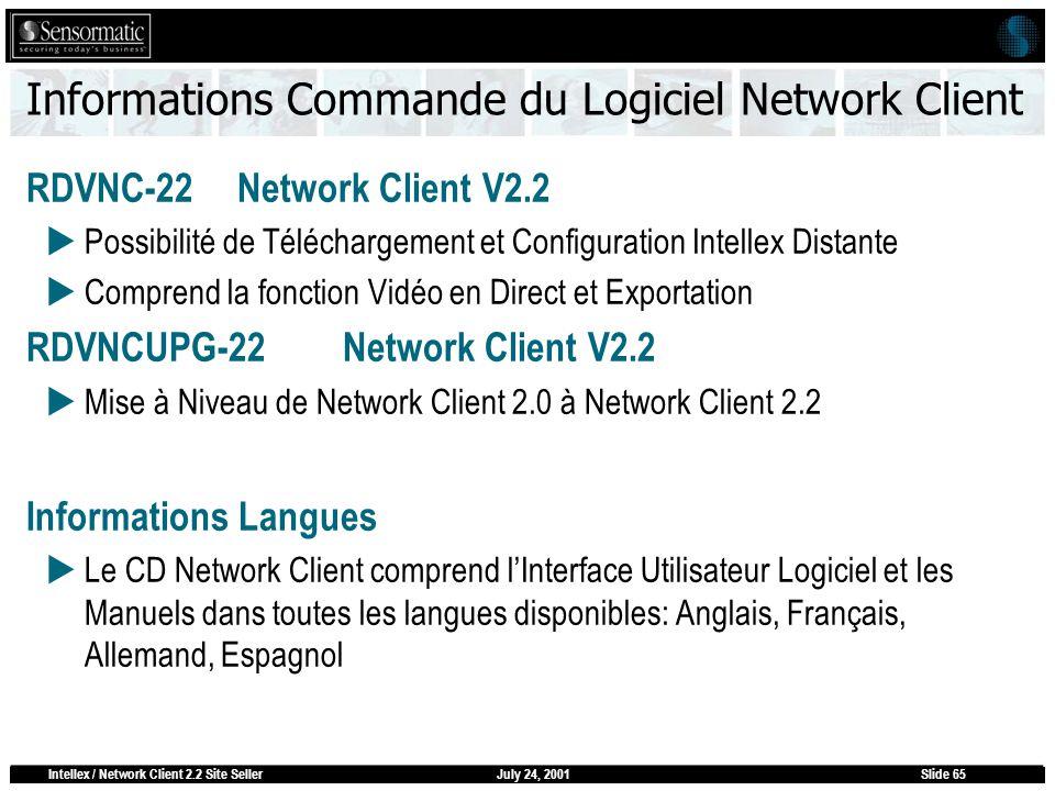 July 24, 2001Intellex / Network Client 2.2 Site SellerSlide 65 Informations Commande du Logiciel Network Client RDVNC-22Network Client V2.2 Possibilit