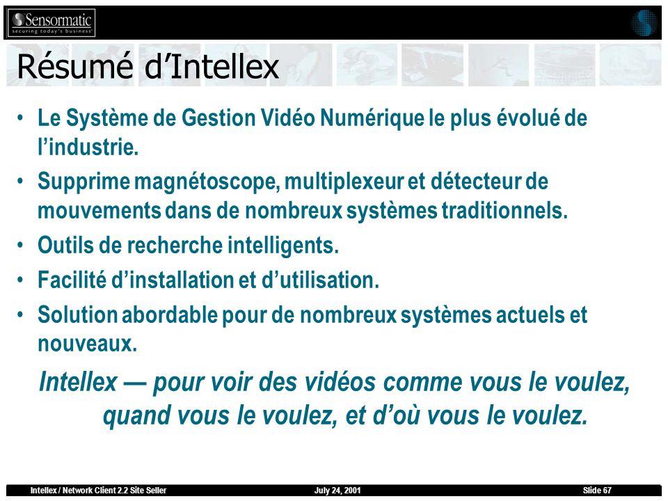 July 24, 2001Intellex / Network Client 2.2 Site SellerSlide 67 Résumé dIntellex Le Système de Gestion Vidéo Numérique le plus évolué de lindustrie. Su