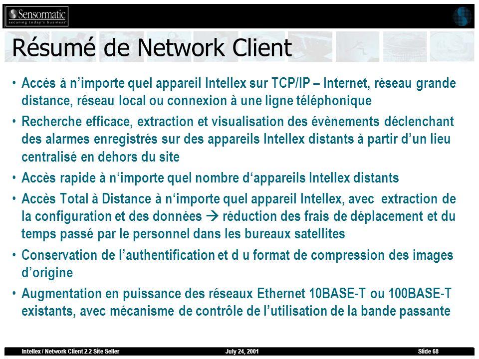July 24, 2001Intellex / Network Client 2.2 Site SellerSlide 68 Résumé de Network Client Accès à nimporte quel appareil Intellex sur TCP/IP – Internet,