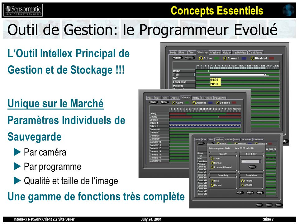 July 24, 2001Intellex / Network Client 2.2 Site SellerSlide 7 Outil de Gestion: le Programmeur Evolué LOutil Intellex Principal de Gestion et de Stockage !!.