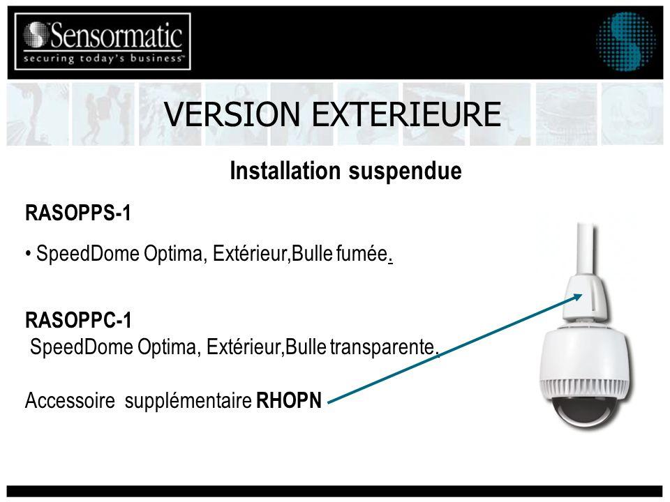 Installation suspendue VERSION EXTERIEURE RASOPPS-1 SpeedDome Optima, Extérieur,Bulle fumée.