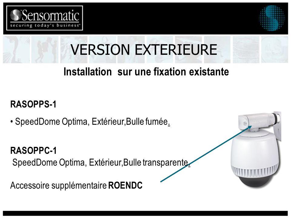Installation sur une fixation existante RASOPPS-1 SpeedDome Optima, Extérieur,Bulle fumée. RASOPPC-1 SpeedDome Optima, Extérieur,Bulle transparente. A