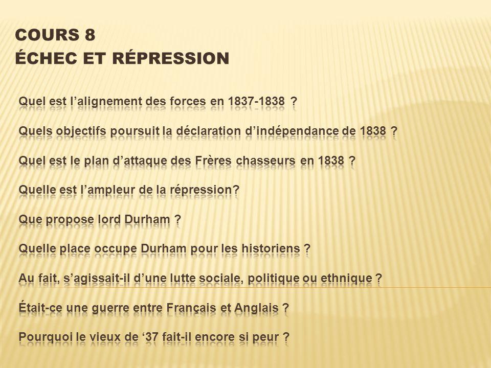 ? Quel est lalignement des forces en 1837-1838 ?
