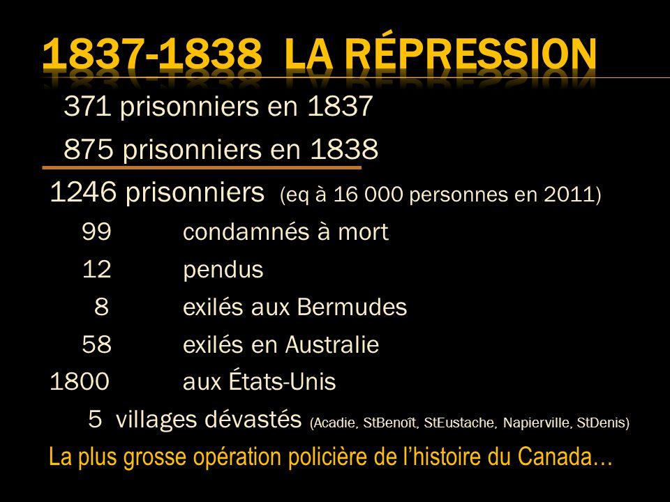 371 prisonniers en 1837 875 prisonniers en 1838 1246 prisonniers (eq à 16 000 personnes en 2011) 99 condamnés à mort 12 pendus 8 exilés aux Bermudes 58 exilés en Australie 1800 aux États-Unis 5 villages dévastés (Acadie, StBenoît, StEustache, Napierville, StDenis) La plus grosse opération policière de lhistoire du Canada…