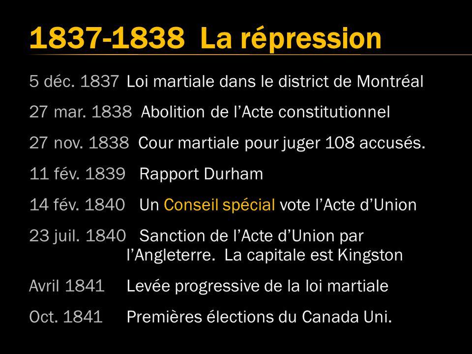 5 déc.1837Loi martiale dans le district de Montréal 27 mar.