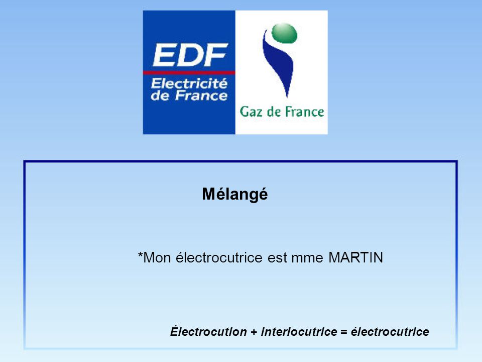 *Mon électrocutrice est mme MARTIN Électrocution + interlocutrice = électrocutrice Mélangé